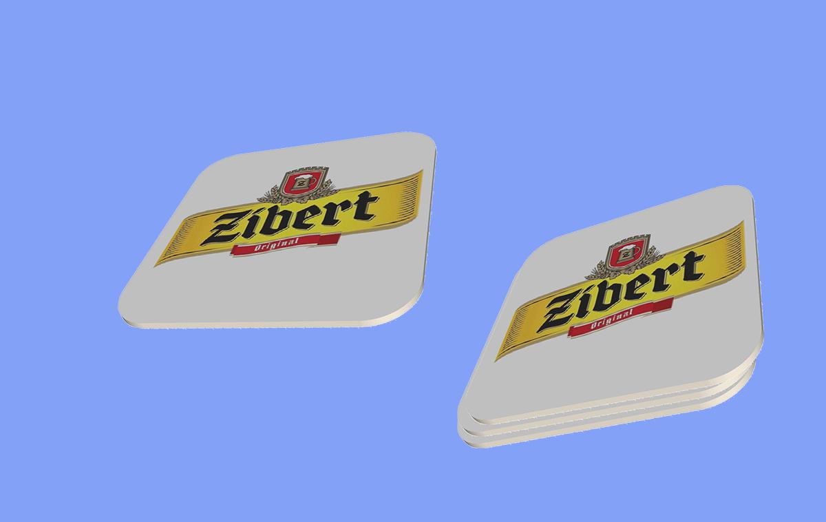 Прямоугольный бирдекель формата 110х110 мм, печать офсетная, красочность 4+0, матовая ламинация 1+0, односторонее каширование на пивной картон 660 гр.м2