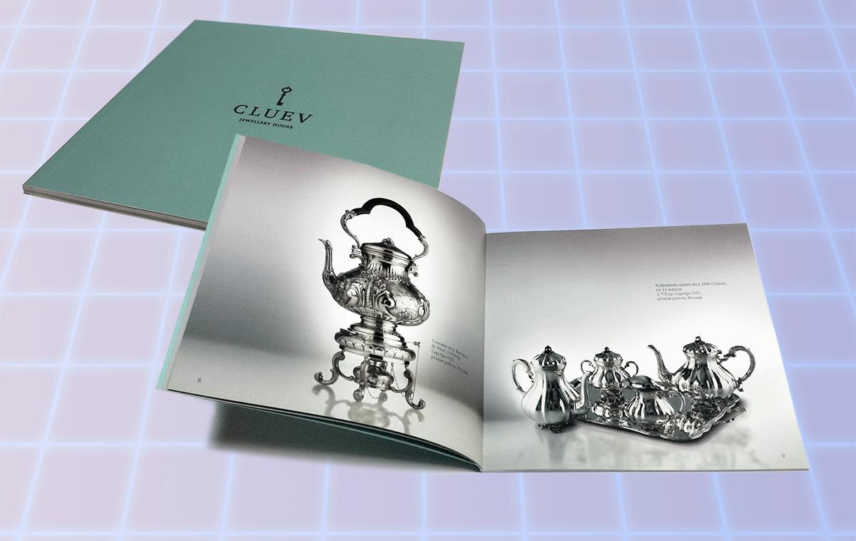 Каталог продукции ювелирного дома, формат 200х200 мм, брошюра 56 полос+обложка, обложка выполнена из дизайнерской бумаги с тиснением черной фольгой, блок бумага 150 гр, брошюровка КБС