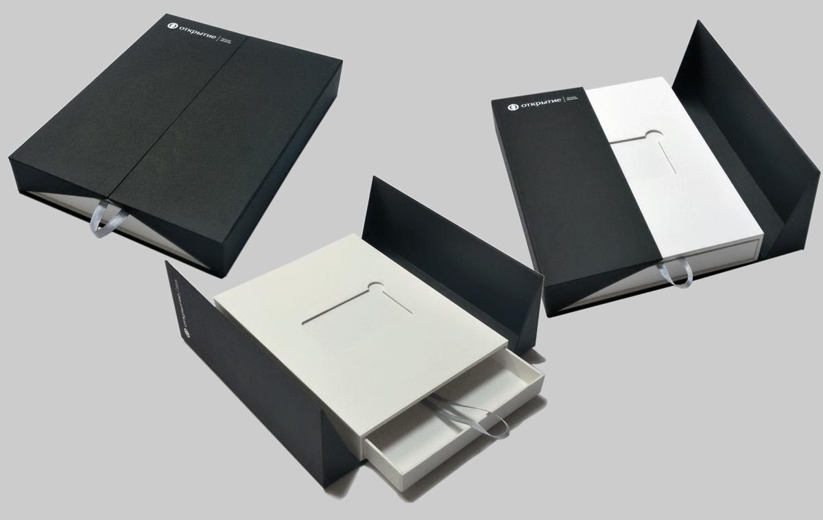 Вэлком пэк VIP сегмента для клиентов Private Banking, в основе каппа картон, обтяжка двумя видами дизайнерского картона. Крышки фиксируются на четыре пары магнитов. Выдвижной ящик служит для подарков и рекламных материалов.